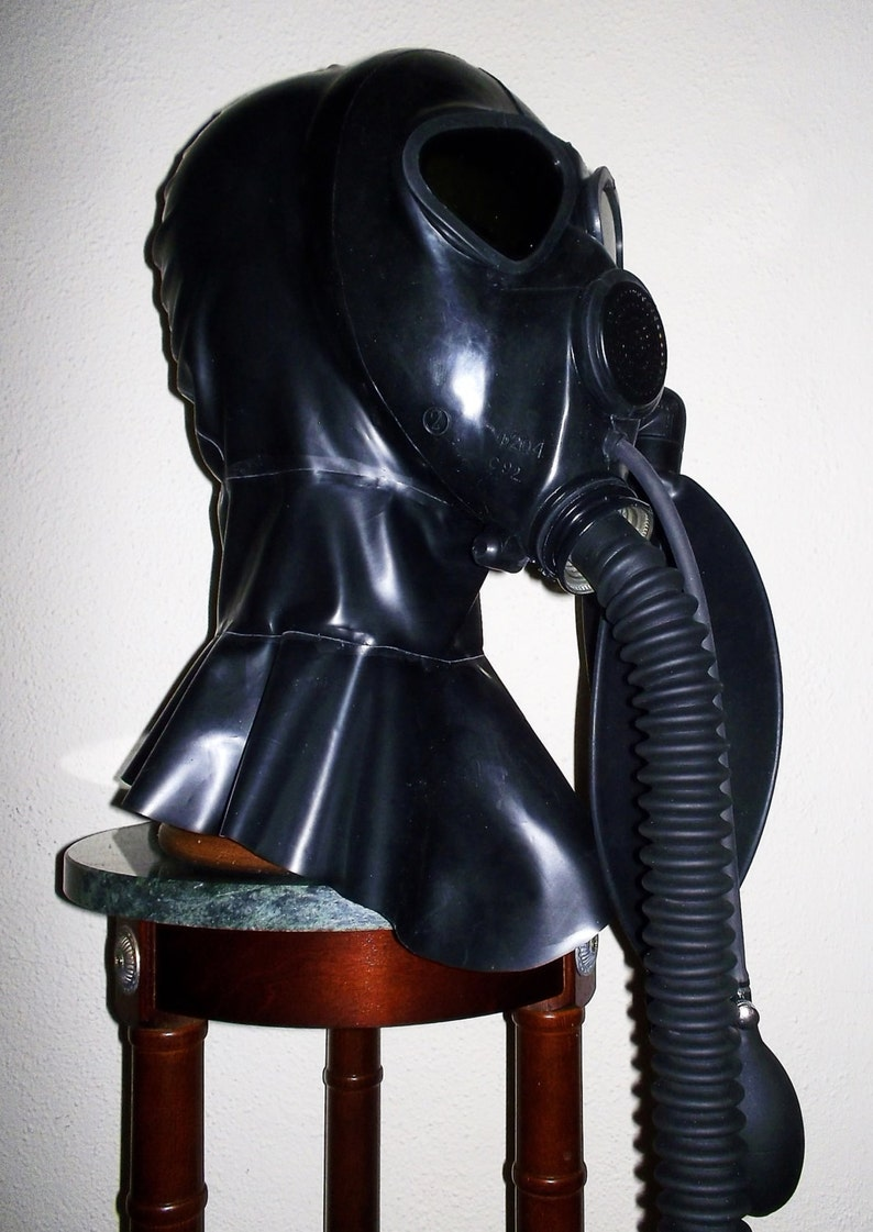 Fetish gas mask for rubber latex hood catsuit dress gloves carneval party body