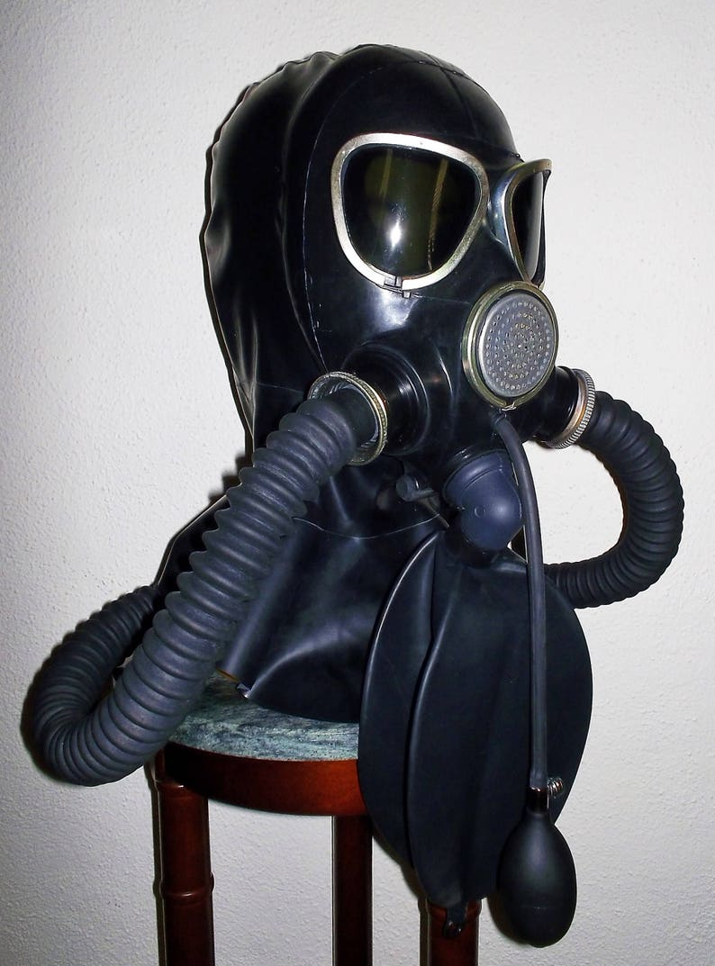 In a gas mask