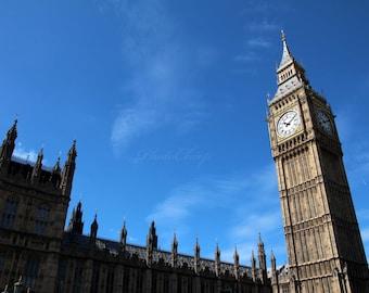 Big Ben clock tower, Elizabeth Tower, Westminster, London England, digital download