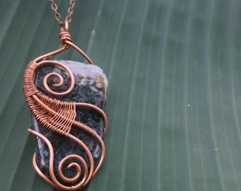 Large Moss Agate in Copper Pendant ~ Wire Wrapped Crystal Necklace