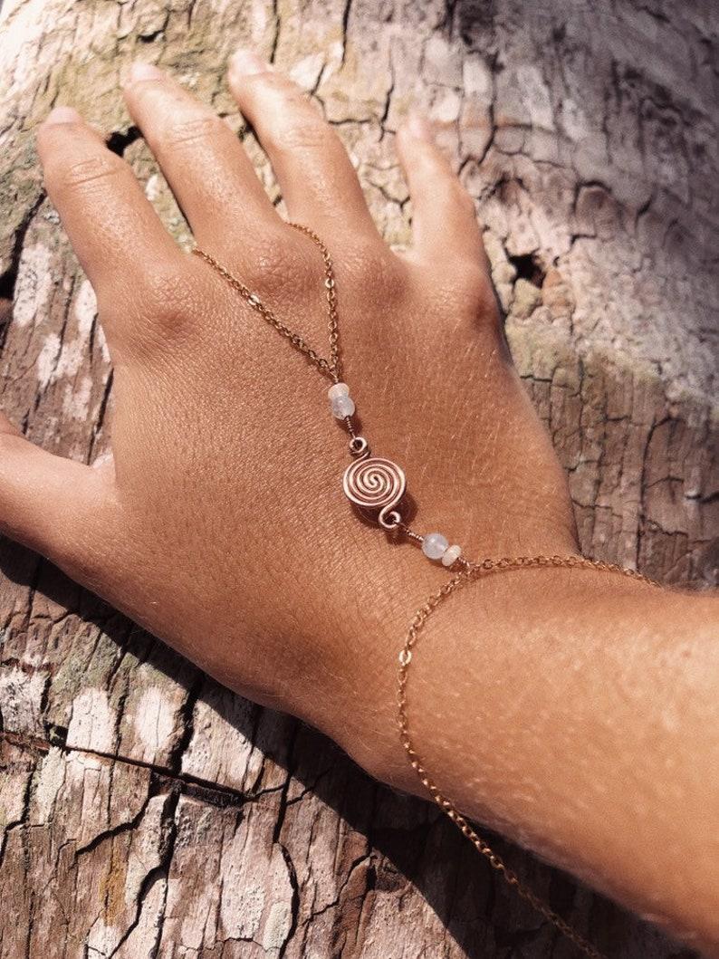 Guide Me .: Copper Hand Chain \u2022 Opal Aquamarine Brass