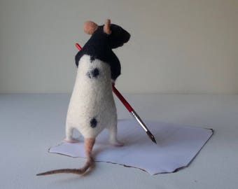 Realistic felt animals Pet portrait laboratory rat Black White lab rat Science-themed gift pet rat memorial Teacher gift