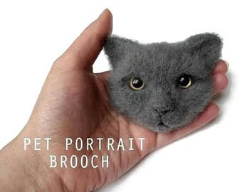 Needle felted Cat portrait brooch, Felt cat head, Custom pet jewelry, Needle felted animal brooch, Nature lover gifts