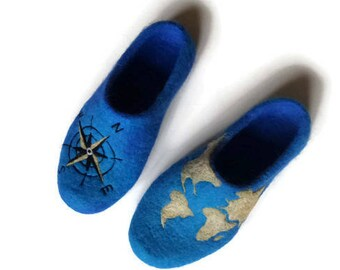 Handmade men wool slippers, Unusual gift for husband, World Map art shoes, Unique gift ideas for him, Travel lovers Adventure birthday gift