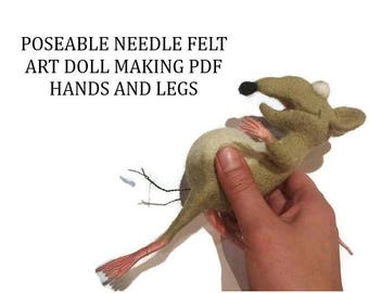 Needle Felt doll making Pdf tutorial Doll Hands and Legs Sculpting Arms and feet Needle felt art
