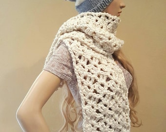 Crochet cream scarf, chunky knit scarf, crocheted off white wide chunky knit scarf, vegan yarn, white chunky crochet scarf, soft and squishy