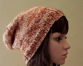 knit slouch hat, knitted red-brown slouch beanie, women's knitted auburn slouchy beanie, knit red brown beanie, soft and squishy, vegan yarn