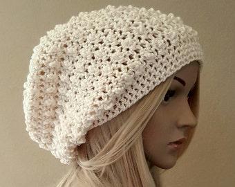 Crochet cream slouch hat, knit off white slouchy beanie, extra slouchy, raised puff design, premium acrylic vegan yarn, soft and squishy