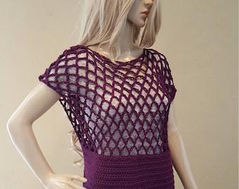 Crochet top, knit top, crocheted mesh top, tunic, crochet shirt, tank top, knit tunic, plum, premium acrylic yarn, vegan, soft and squishy