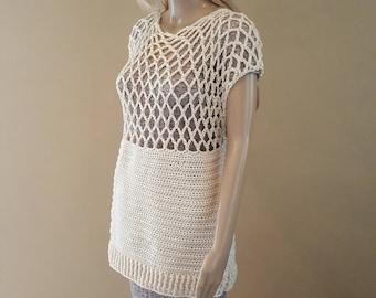 Crochet top, knit top, crocheted mesh top, tunic, crochet shirt, tank top, knit tunic, cream, premium acrylic yarn, vegan, soft and squishy
