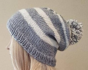 knit gray slouch hat, knitted cream and gray striped slouchy hat, knitted pom pom beanie, women's knit beanie, vegan yarn, soft and squishy