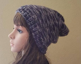 knit slouch hat, organic kettle-dyed merino wool, knitted purple and black slouchy beanie, women's beanie, knit beanie, soft and squishy