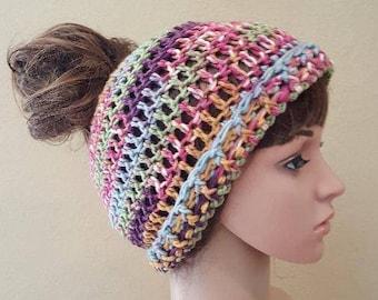 crochet messy bun beanie, knit topknot beanie, crochet ponytail hat, multicolored crochet ponytail beanie in green, blue, soft and squishy