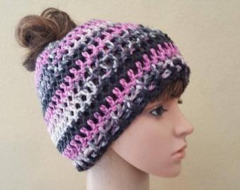 crochet messy bun beanie, knit pink, black, gray, and white topknot beanie, crochet ponytail hat, crochet ponytail beanie, soft and squishy