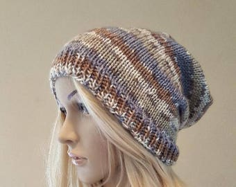 knit striped slouch hat, knitted blue and brown striped slouchy hat, knit slouchy beanie, women's knit beanie, vegan yarn, soft and squishy