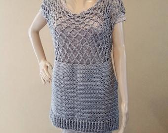 Crochet mesh top, knit top, crocheted top, tunic, crochet shirt, tank top, knit tunic, gray, premium acrylic yarn, vegan, soft and squishy