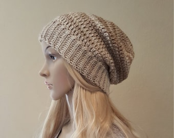 Crochet beige and cream slouchy hat, silky, soft, shiny, and squishy, knitted champagne slouchy beanie, knit beanie, crocheted slouch beanie