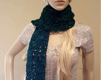 Crochet Blue Green Scarf, Pure Organic Hand-dyed Wool, Knit Blue Green Scarf, Knitted Blue Green Scarf,  Exquisitely Soft and Squishy