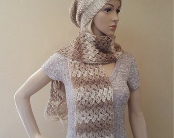 Crochet beige and cream scarf, shiny, silky, squishy, and soft, crocheted cream and tan scarves, champagne knitted scarf, knitted scarves,