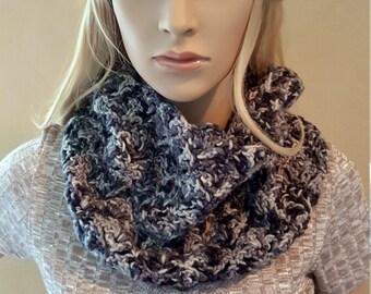 Crochet Neck Warmer, Crochet Cowl, Knit Neckwarmer, Organic Kettle-Dyed Merino Wool, Grey and Black Crochet Neckwarmer, Soft and Squishy