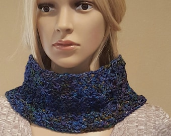 Crochet Neck Warmer, Cowl, Knit Neckwarmer, Pure Organic Hand-Dyed Merino Wool, Shades of Dark to Light Purples and Blues, Soft and Squishy