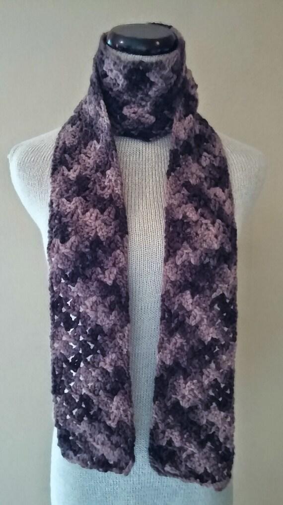 Crochet bufanda flaca marrón lana orgánica teñida a mano | Etsy
