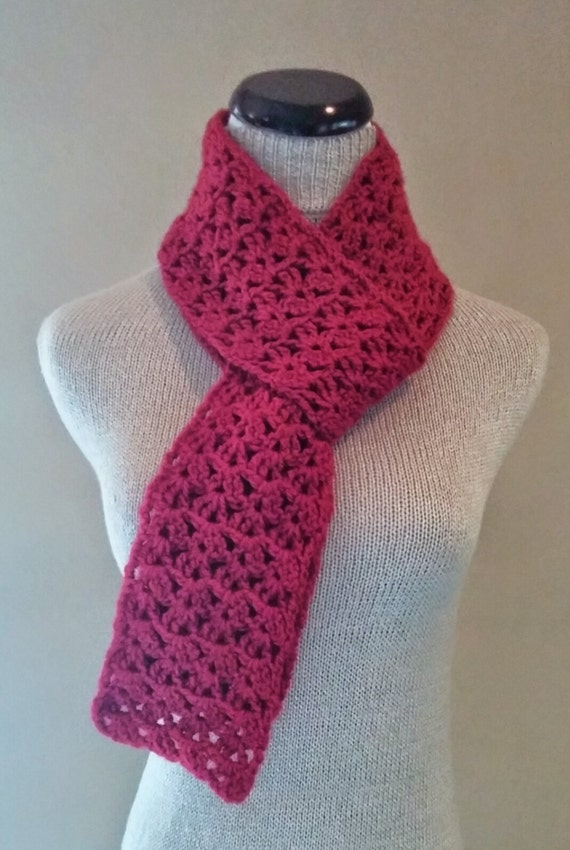 Crochet Red Skinny Scarf Knit Red Skinny Scarf Red Wool Etsy