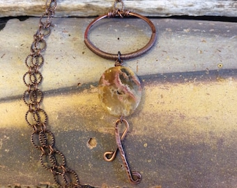 Copper and Mexican Agate Pendant Copper Chain Necklace!  Item B146