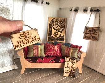 1:12 DIY KIT   Boho Decorator Set Of 3 Decorative Signs And Buddha Portrait  Modern Bohemian Or Scandi Miniatures Designer Dollhouse Decor