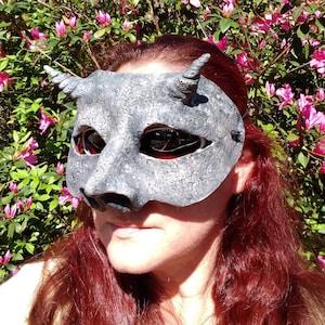 medieval costume stone look Gargoyle mask Halloween costume masquerade mask larp creepy horned mask