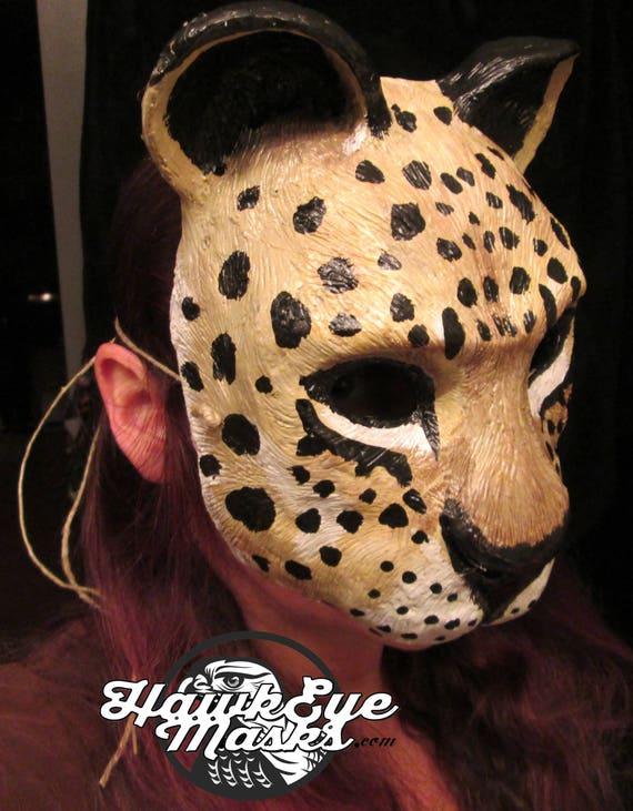 adult masquerade Jungle Cat mask Animal costume mask jungle cat Neko Ocelot cat mask festival handmade mask Carnival mask