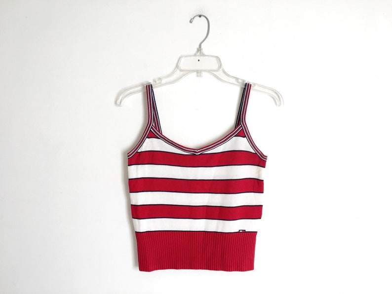 5e7064745180a Tommy Hilfiger Stripe Sweater 90s Knit Tank Top 1990s Midriff