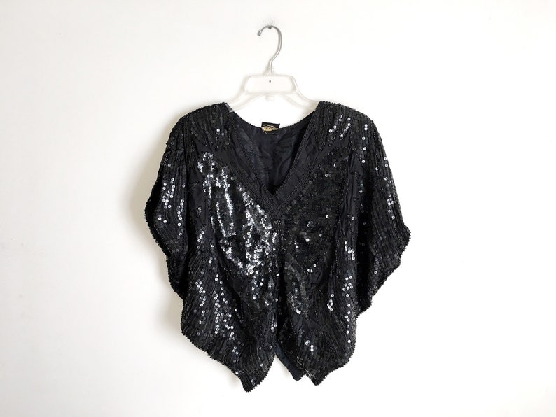 100a17f423255 Sequin Top Festival Vintage Black Beaded Silk Blouse Shiny