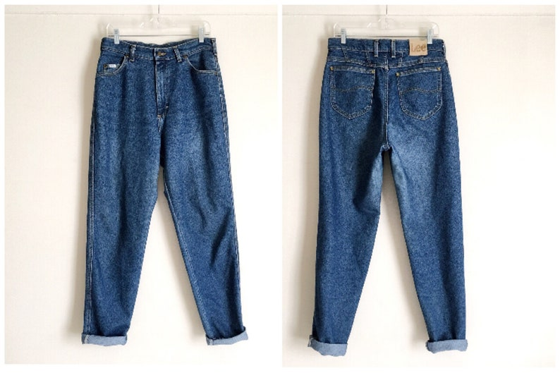 Relaxed Cropped Tapered Jeans In 90s Mid Wash Blue
