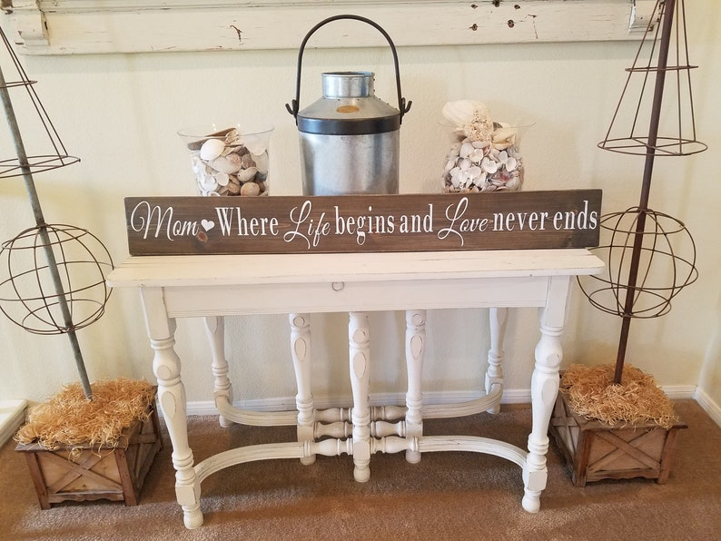 Mother's Day Sign  Mom Where Life Begins and Love Never Ends Wood Sign   Rustic mother sign, mother sign, gifts for moms, mothers day gifts
