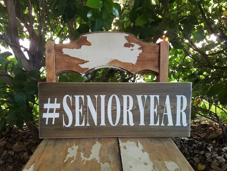 Senior Year Sign class of 2020 Sign rustic senior sign senior year photo prop rustic senior portrait sign hashtag senior grad party decor