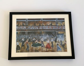 """Northern Soul; """"I Go to Pieces"""" - a mounted and framed print showing dancers at Wigan Casino"""