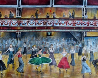 """Northern Soul; """"I Go to Pieces"""" - a signed limited edition print showing dancers at Wigan Casino"""