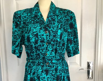 NEW, Looking Good, 100%, Cotton, Size 20, Vintage, Retro, Tea Dress, 80s, Green, Black, Summer, Dress, Plus size, Belt , Dead Stock,