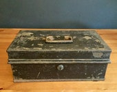 Antique, Milners, Safe, metal, Deed, storage, box, tin, vintage, chest small trunk document, money, cash, till