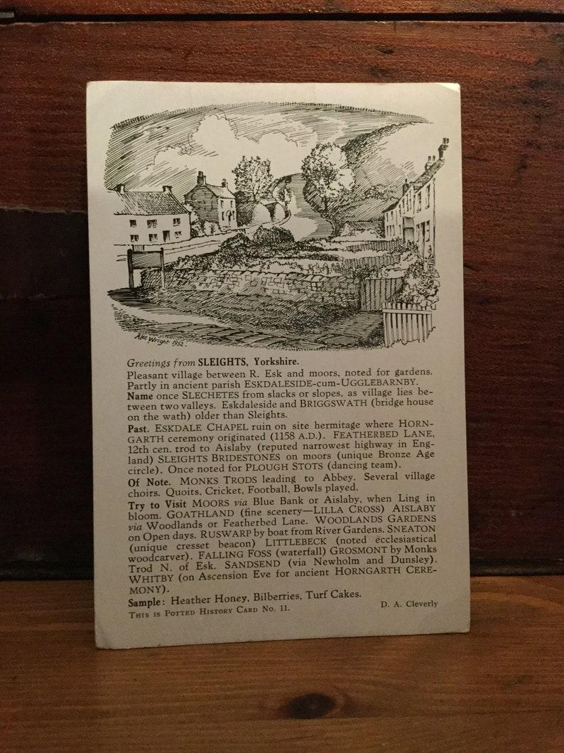 Sketch Yorkshire Postcard print Black and White Antique Old Sleights #10 Studio Stokesley Vintage