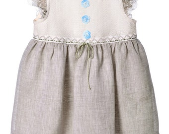 Girls Linen Dress. Linen Dress For Girls With Accessories