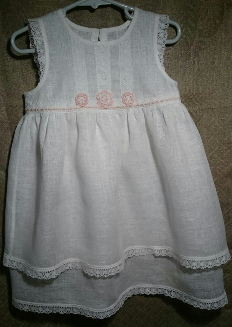 d210b2ecc2 Biały kwiat Girls lniane sukienki. Kwiat Girls białe lniane