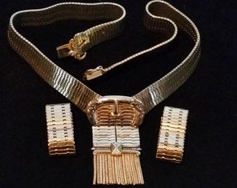 Retro Signed Belt-Style Whiting Davis Necklace and Earring Set - Vintage
