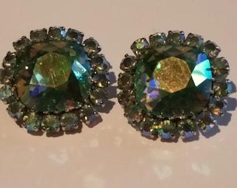 Bright Green Aurora Borealis Vintage Earrings