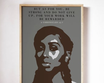 Don't Give Up Bible Verse Print   African American Art   Home Decor   Black Art   Boss Woman Gift