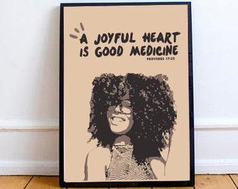 A Joyful Heart Proverbs Bible Verse Print