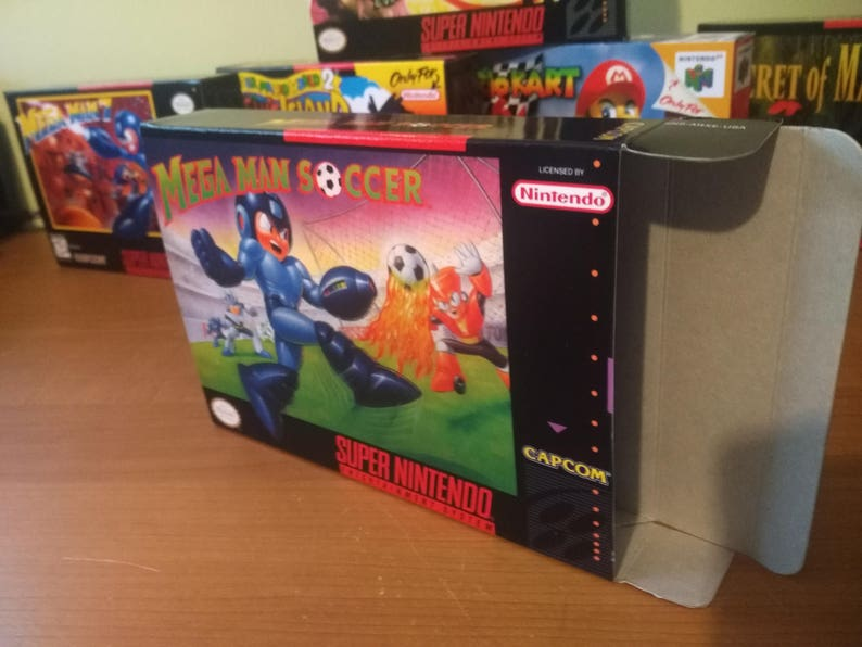 Mega Man Soccer Super Nintendo SNES Reproduction Box! Best Repros in the  world!