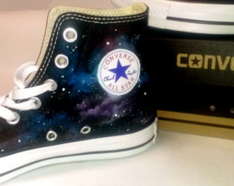 Cosmic Galaxy Hand Painted Converse All Star HiTop Sneakers Black M+W Sizes Canvas