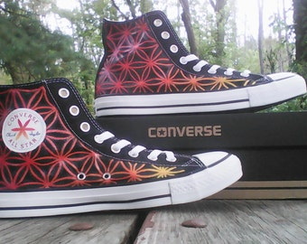 Fire Theme Flower of Life Hand Painted Converse All Star HiTop Sneakers Black M+W Sizes Canvas